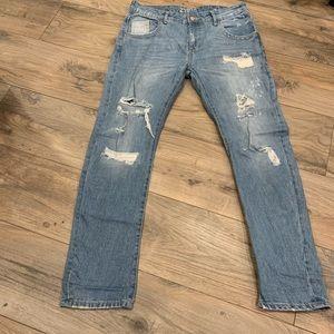 Zara light wash distressed boyfriend fit jeans